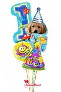 Personalized Boy1st BirthdayParty Pup Balloon Bouquet (5 Balloons) delivery in Rochester