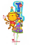Personalized Boy 1st BirthdayParty Monkey Balloon Bouquet (3 Balloons) delivery in Rochester