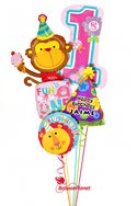 Personalized Girl1st BirthdayParty Monkey Balloon Bouquet (5 Balloons) delivery in Rochester
