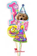 Personalized Girl1st BirthdayParty Pup Balloon Bouquet (5 Balloons) delivery in Rochester