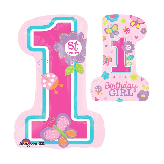 1st Birthday Girl<br>Number One Shape Balloon