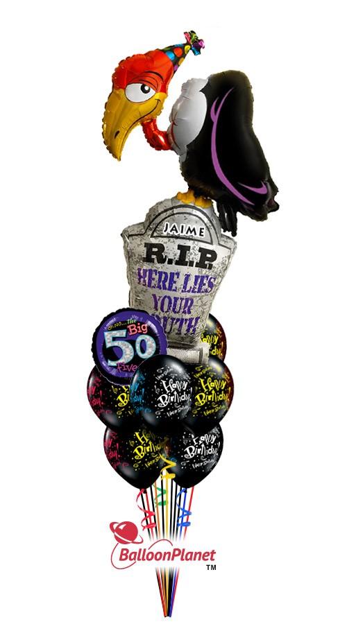 Balloon bouquet delivery balloon decorating 866 340 - Custom Name Age Buzzard Birthday Balloon Bouquet 14 Balloons