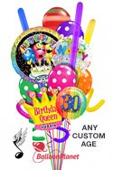 Custom Name & AgeSinging Balloon & CrownQueen Madness Balloon Bouquet (14 Balloons) delivery in San Diego
