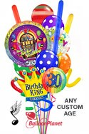 Custom Name & AgeSinging Balloon & CrownKing Madness Balloon Bouquet (14 Balloons) delivery in San Diego