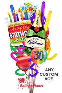 Custom Name & AgeCake & ChampagnePure Madness Balloon Bouquet (15 Balloons) delivery in San Diego