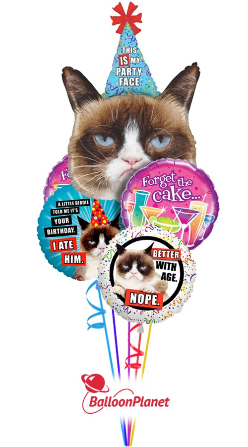 Grumpy Cat Birthday Balloon Bouquet <br>(5 Balloons)