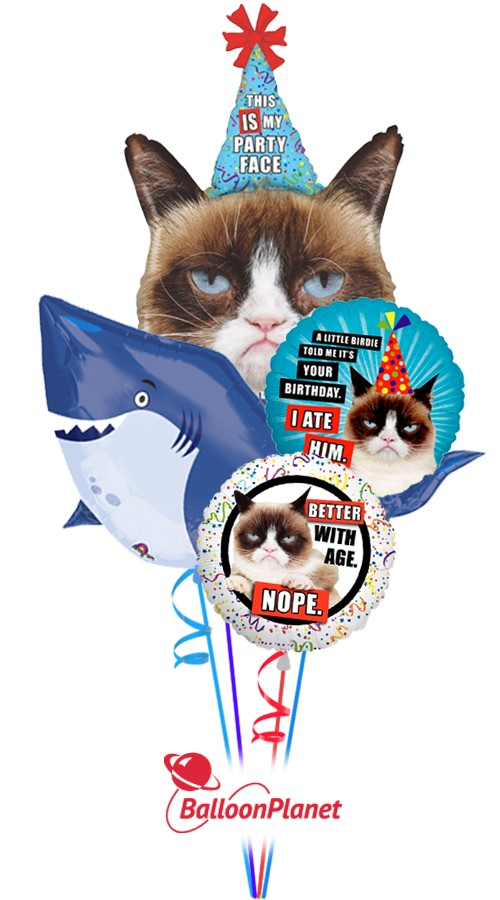 Grumpy Cat, Shark Balloon Bouquet (5 Balloons)