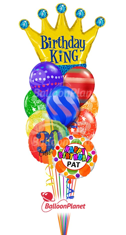 Balloon BouquetBirthday King GraphicsCustom Name & Age (12 Balloons)