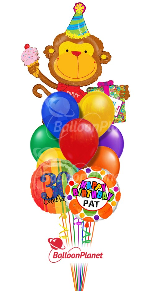 Balloon BouquetBirthday Party MonkeyCustom Name & Age (12 Balloons)