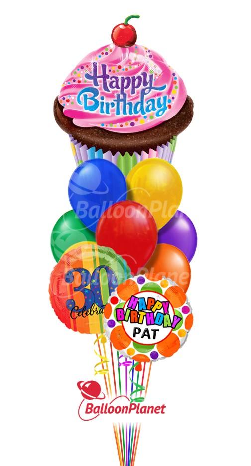 Balloon Bouquet Birthday Cup Cake Custom Name Age 12 Balloons