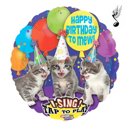 Birthday Meowing Cats Singing Balloon
