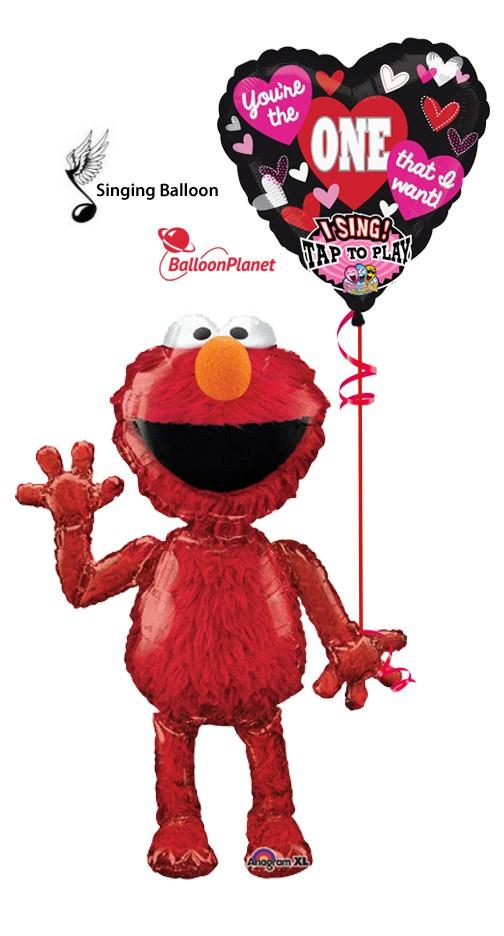 valentines airwalker elmo singing heart balloon bouquet 2 balloons - Singing Valentine