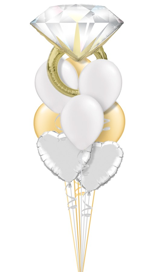 Gold/Silver Ring IBridal Balloon Bouquet (9 Balloons)