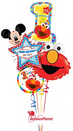 First Birthday Elmo & Mickey Personalized Name Balloon Bouquet (4 Balloons)