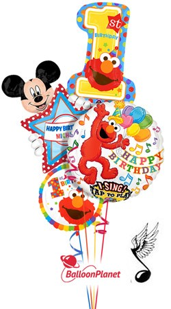 First Birthday Singing Elmo W Mickey Personalized Name Balloon Bouquet 4 Balloons