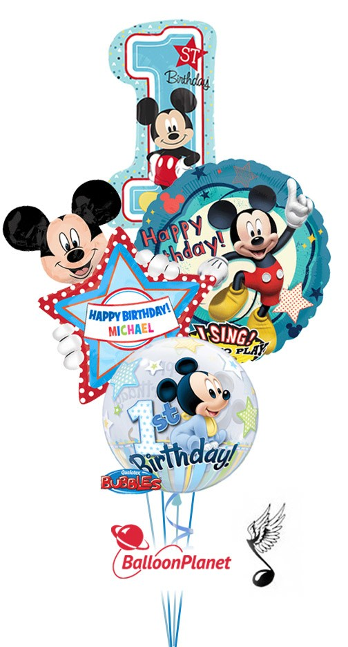First Birthday Singing Mickey Personalized Name Balloon Bouquet 4 Balloons