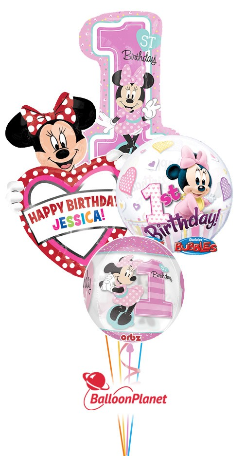 First Birthday Minnie Mouse Personalized Balloon Bouquet 4 Balloons