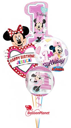 First Birthday Minnie Mouse Personalized Balloon Bouquet (4 Balloons)