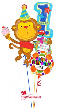 First Birthday Birthday Monkey Personalized Name Balloon Bouquet (3 Balloons)
