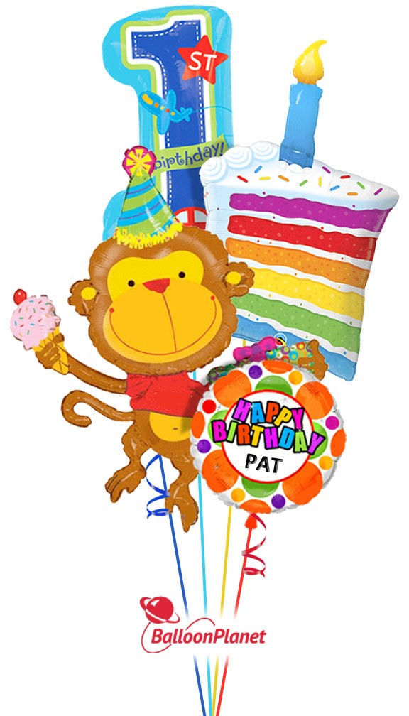 First Birthday Cake Monkey Personalized Name Balloon Bouquet 4 Balloons