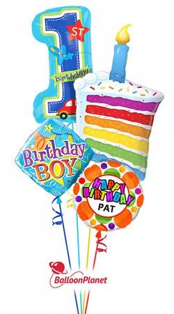 first birthday cake birthday boy personalized name balloon bouquet