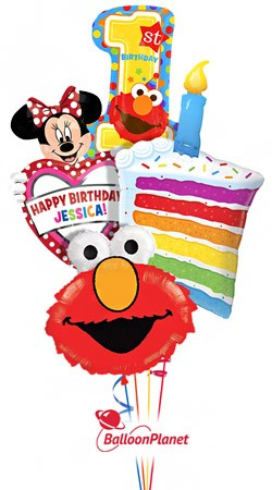 First Birthday Cake Elmo Minnie Personalized Name Balloon Bouquet 4 Balloons