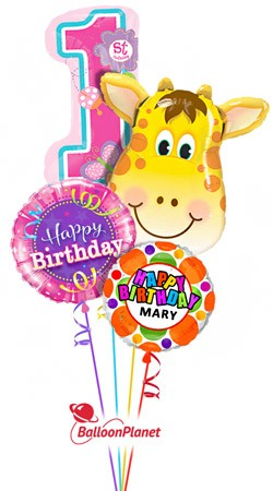 First Birthday Jolly Giraffe Personalized Name Balloon Bouquet 4 Balloons