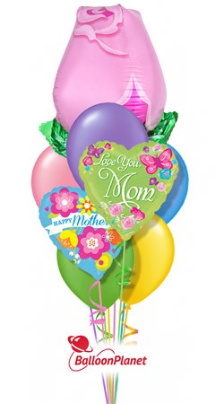 Mother's Day Pink Rose Balloon Bouquet (9 Balloons)