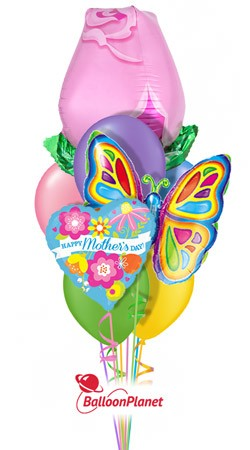 Mother's Day Pink Rose Butterfly Balloon Bouquet (9 Balloons)