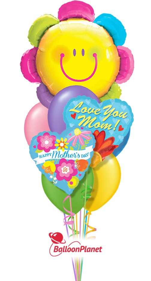 Mother\'s Day Smiley Face Flower Balloon Bouquet (9 Balloons ...