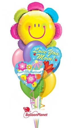 Mother's Day Smiley Face Flower Balloon Bouquet (9 Balloons)