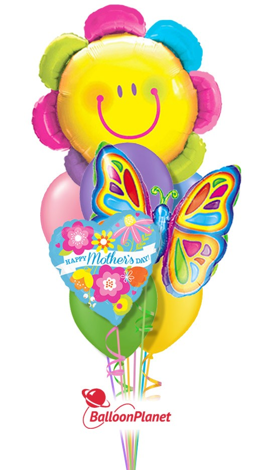 Mother\'s Day Smiley Flower & Butterfly Balloon Bouquet (9 Balloons ...