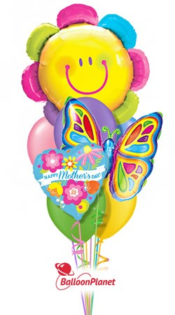 Mother's Day Smiley Flower & Butterfly Balloon Bouquet (9 Balloons)