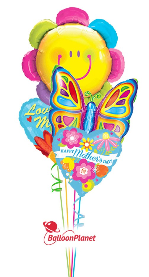 Mother\'s Day Smiley Flower & Butterfly Balloon Bouquet (4 Balloons ...