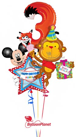 Third Birthday Fox 3 & Monkey Personalized Mickey Balloon Bouquet (3 Balloons)