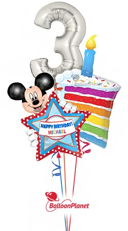 Third Birthday Silver 3 Cake Personalized Mickey Balloon Bouquet Balloons