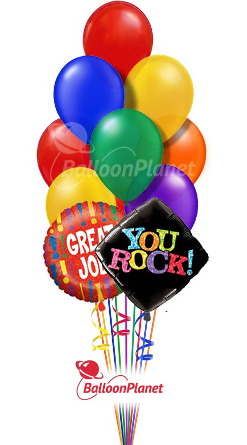 You Rock Rainbow Colors Balloon Bouquet 12 Balloons