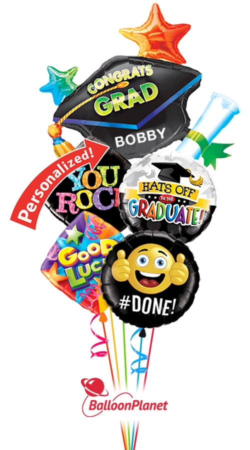 Colorful Grad MylarsBalloon BouquetPersonalized Name (5 Balloons)