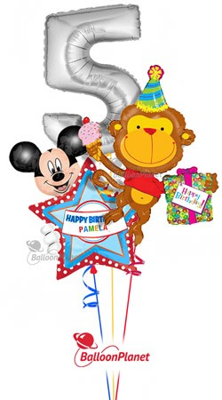 Fifth Birthday Silver 5 Monkey Personalized Mickey Balloon Bouquet 3 Balloons