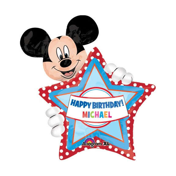 Birthday Custom Name Personalized Balloon Mickey with Star