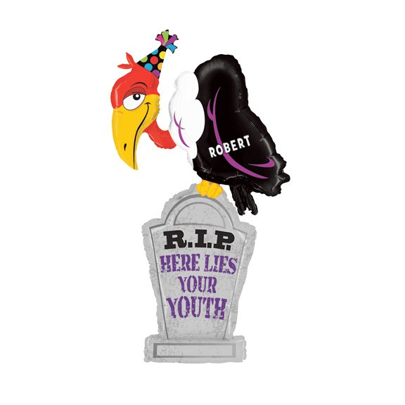 Birthday Custom Name<br>Personalized Balloon<br>Tombstone Buzzard