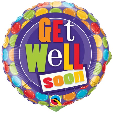 Get Well Soon<br>Colorful Dots Balloon