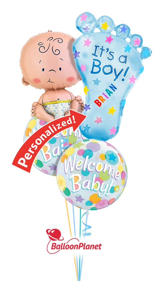 Baby Boy With Foot Personalized Name Balloon Bouquet